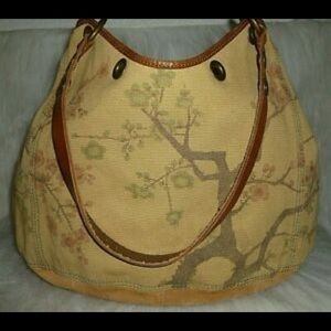 LUCKY BRAND BIG BERTHA Canvas Leather Suede Tote